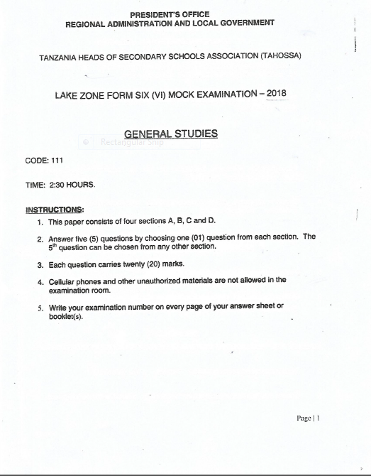 G STUDIES TAHOSSA LAKEZONE FORM 6 MOCK 2018