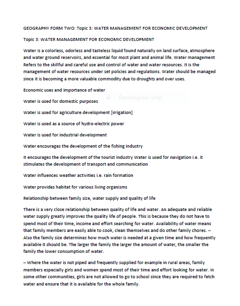 GEO F2 WATER MANAGEMENT NOTES