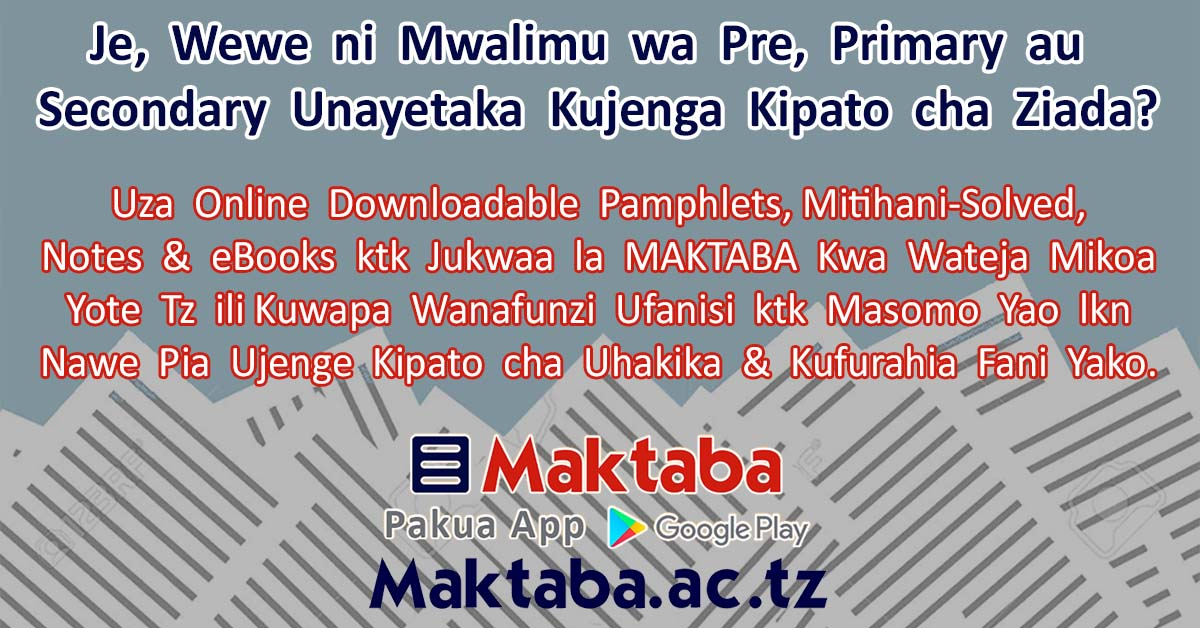 Sell & Download Pastpapers, Pamphlets & eBooks For Primary