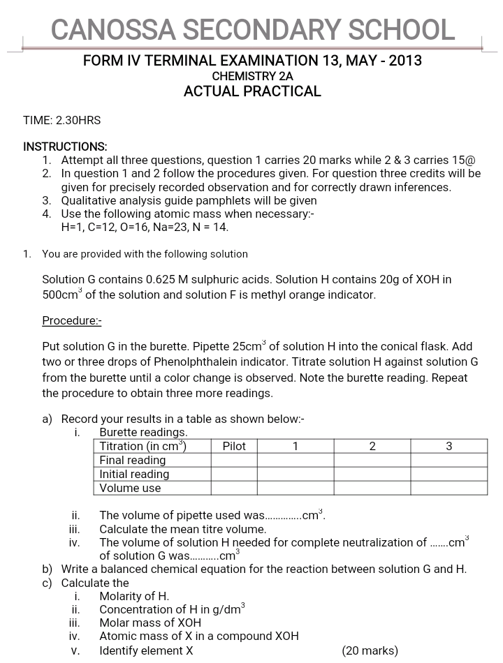 Cannosa secondary chemistry practical 2013 form four